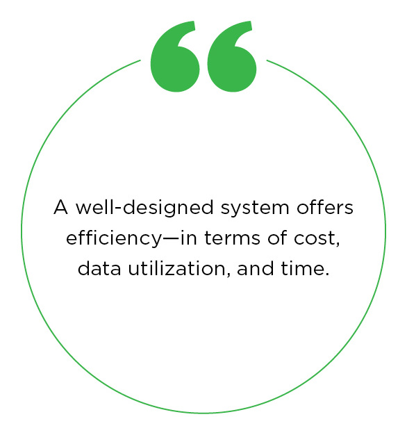 Quote - A well-designed system offers efficiency—in terms of cost, data utilization, and time.