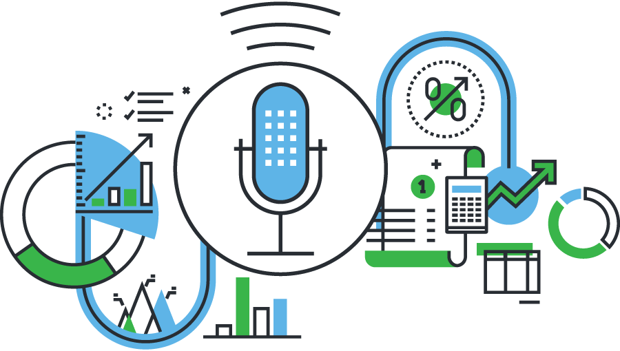 Microphone and Data Illustration